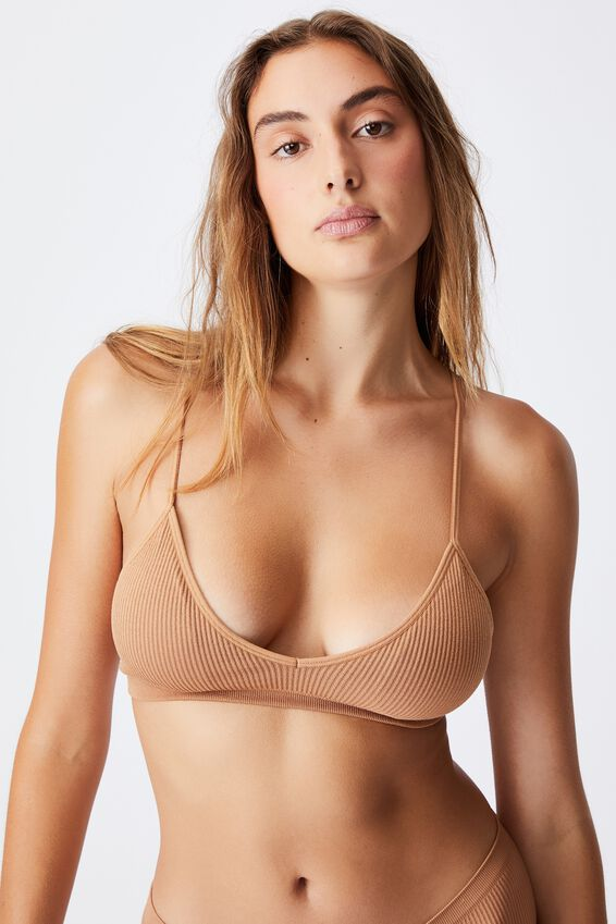 Seamfree Triangle Bralette With Cups, CASHEW