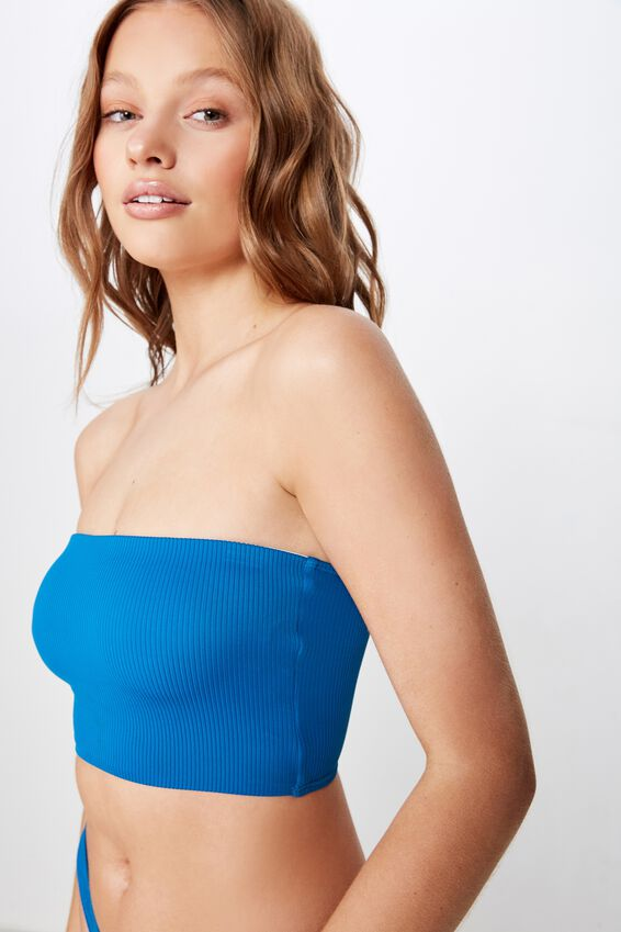 Longline Bandeau Bikini Top, SEAPORT RIB