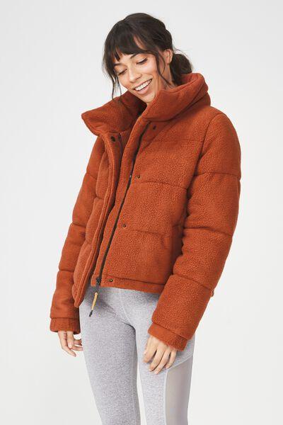 Sherpa Explorer Puffer Jacket, BURNT RUST