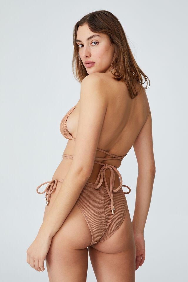 Tie Side Hipster Cheeky Bikini Bottom Crinkle, SALTED CARAMEL CRINKLE