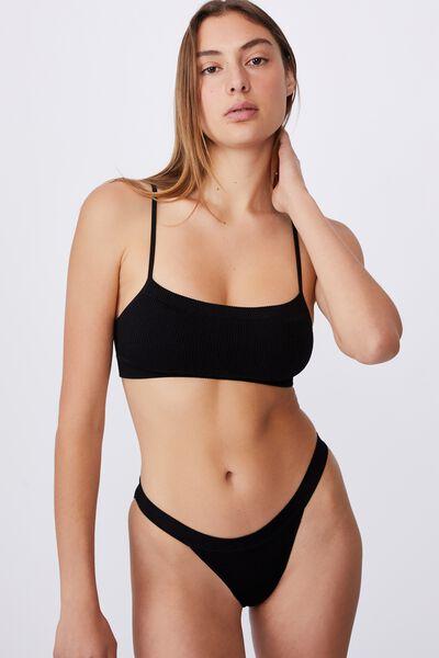 Seamless Tanga Bikini Brief, BLACK