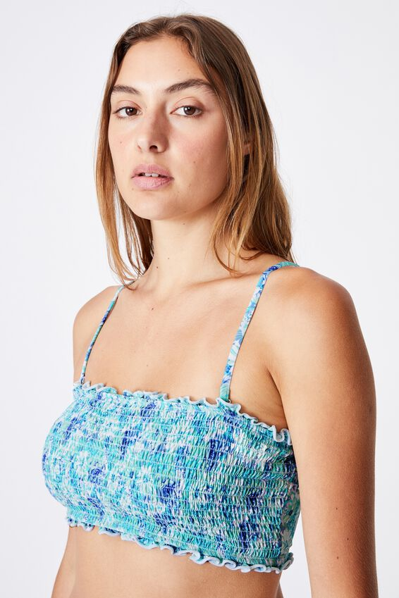 Midi Bandeau Bikini Top Shirred, SUMMER BLOOMS BLUES SHIRRED