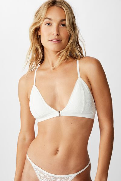 Ava Wirefree Front Closure Bralette, CREAM