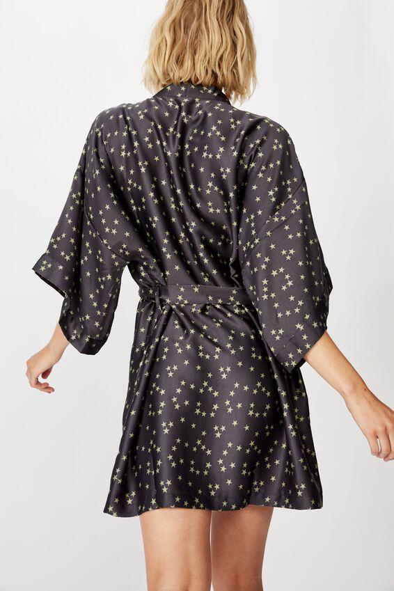 Satin Kimono Gown, SCATTERED STARS IRON