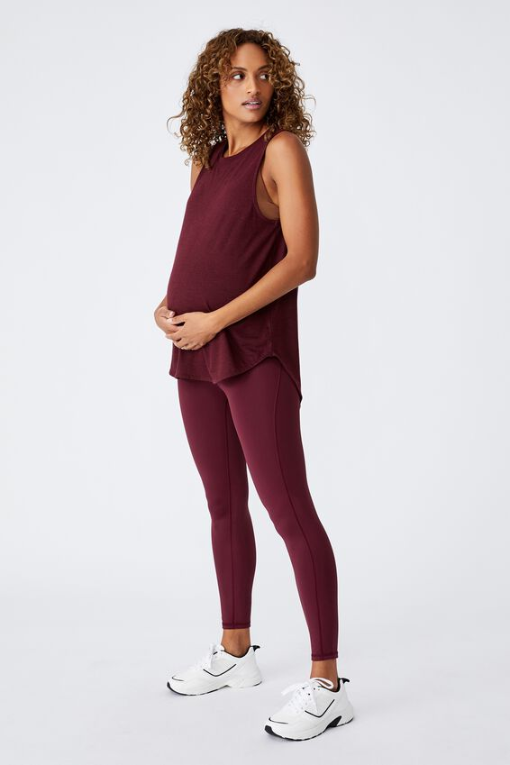 Maternity Active Curve Hem Tank Top, MULBERRY