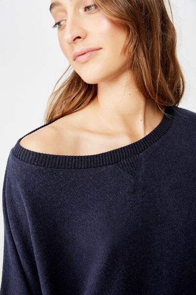 Supersoft Slouch Crew, NAVY BABY MARLE