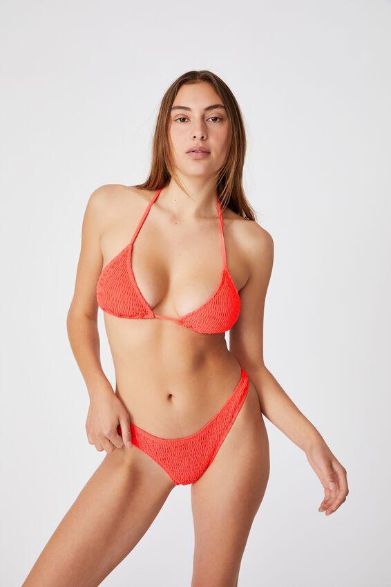 Refined High Side Brazilian Bikini Bottom, HOT CORAL SHIRRED