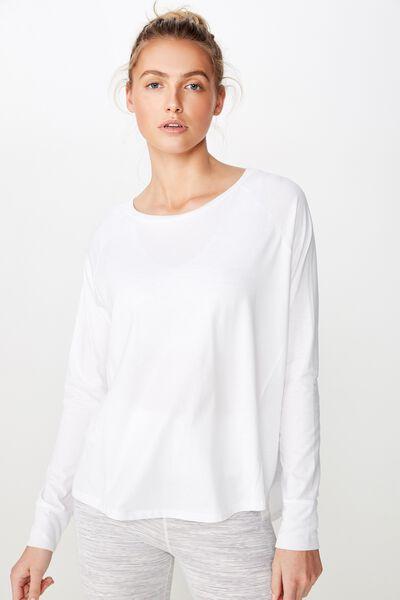 Active Rib Long Sleeve Top, WHITE