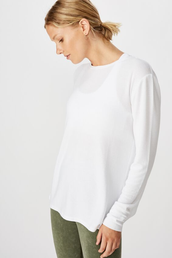 Back Twist Long Sleeve Top, WHITE