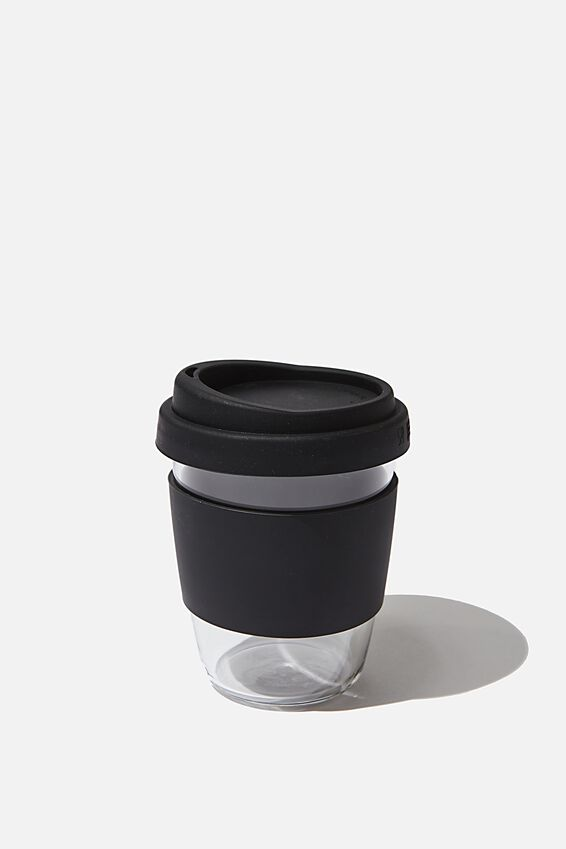Reusable Glass Coffee Cup 380Ml, BLACK