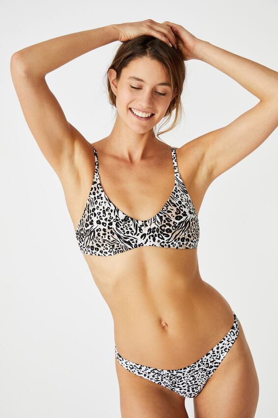 U Crop Bralette Bikini Top, HYBRID ANIMAL RIB