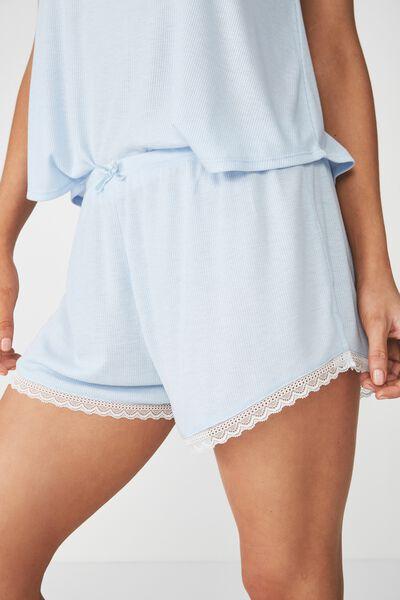 Rib Lace Short, COASTAL BLUE MARLE