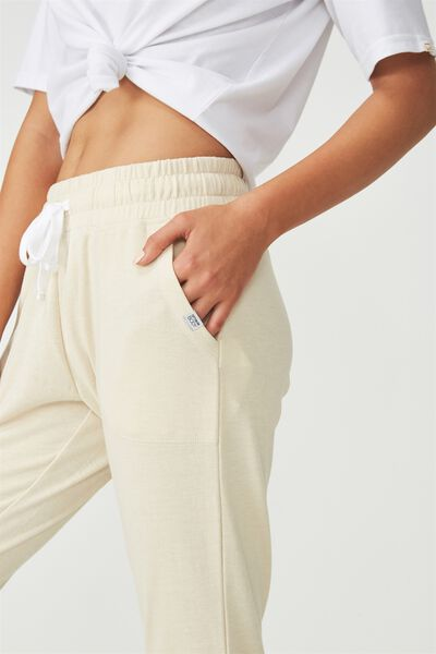 Cropped Gym Track Pants, LIMESTONE MARLE