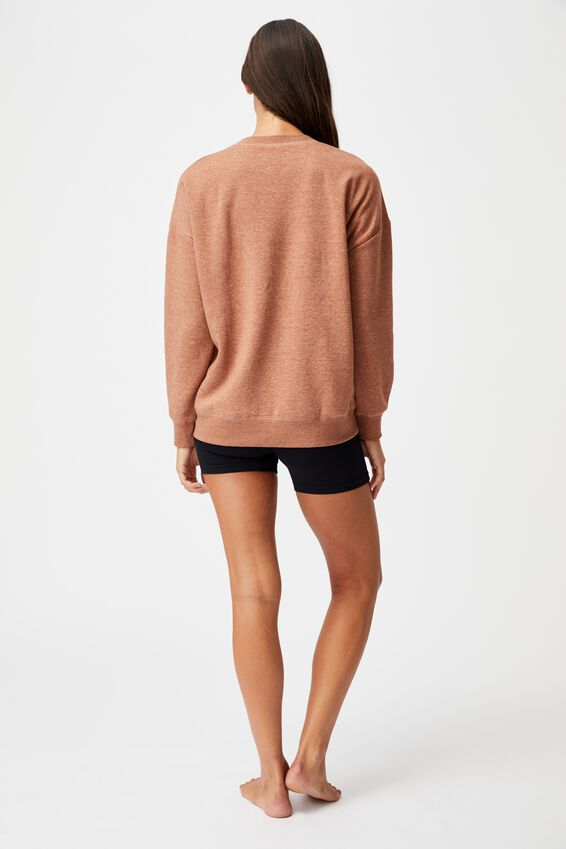 Lifestyle Long Sleeve Crew Top, CASHEW MARLE