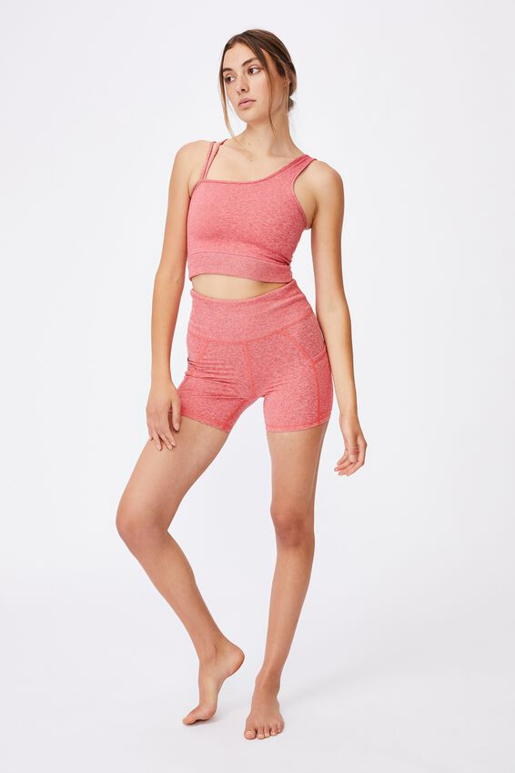 Run With It One Shoulder Vestlette, CANDY RED MARLE