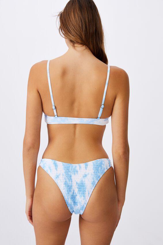 Refined High Side Brazilian Bikini Bottom, POWDER BLUE TIE DYE SHIRRED