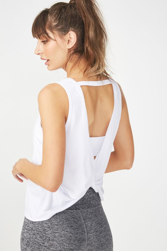 Backless Twist Tank Top, WHITE