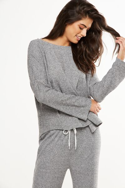 Super Soft Relaxed Crew Top, GREY MARLE
