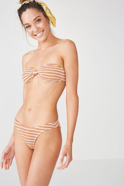 Hanna Crinkle High Side Cut Cheeky Bikini Bottom, MAPLE STRIPE