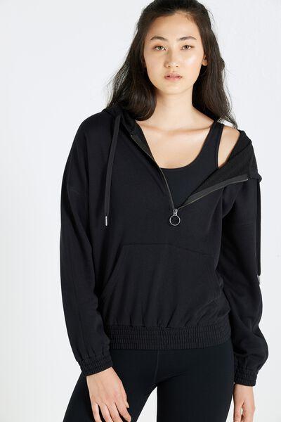 Zip Front Hoodie, BLACK