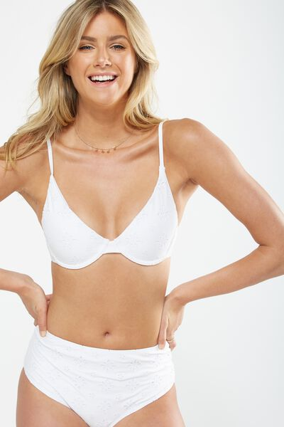 Feminine Underwire Triangle Bikini Top, WHITE BRODERIE