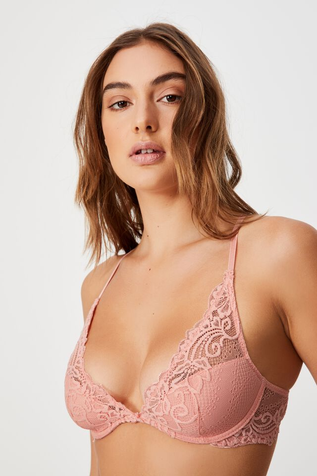 Ainsley Lace Plunge Contour Bra, CANDY FLOSS