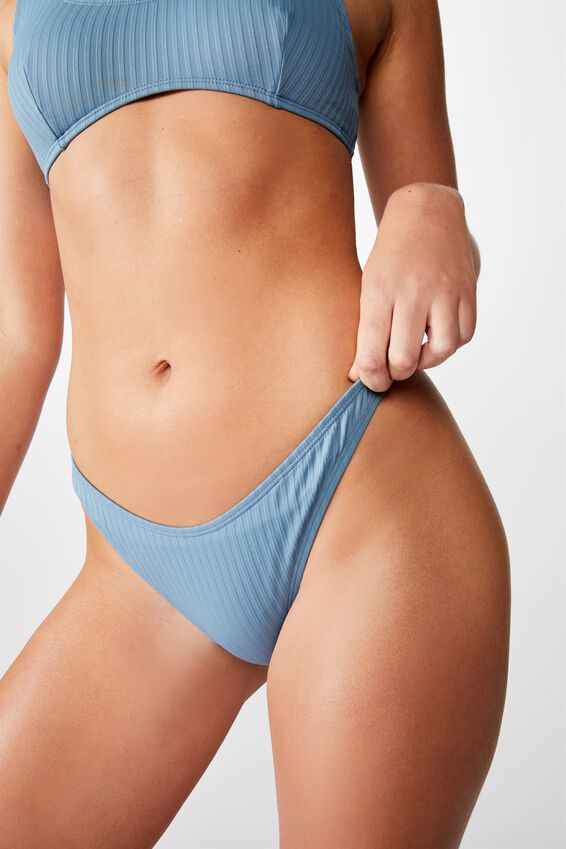 Refined High Side Brazilian Bikini Bottom, BLUESTONE RIB