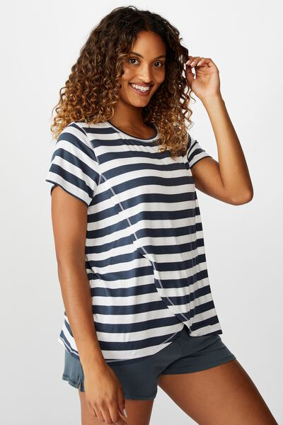 Sleep Recovery Maternity T Shirt, THICK STRIPE IRON