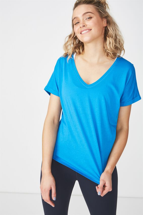 Rolled Sleeve Gym T Shirt, ELECTRIC BLUE