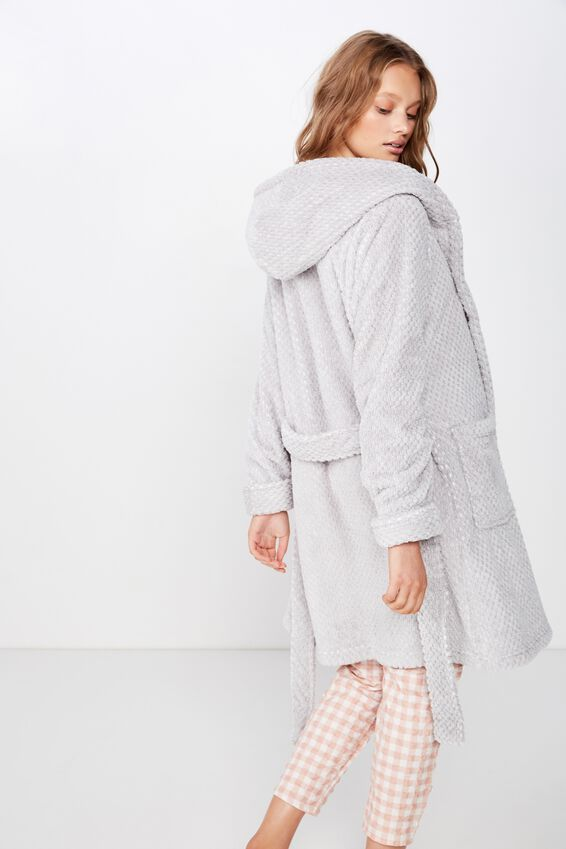 Hooded Luxe Plush Gown, LIGHT GREY MARLE TEXTURED