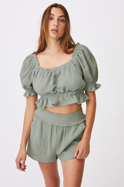 Puff Sleeve Beach Swim Top, KHAKI