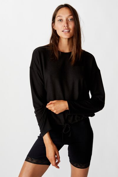 Super Soft Draw Cord Crew, WASHED BLACK MARLE