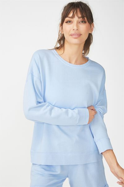 Active Crew Long Sleeve Top, TOPAZ BLUE
