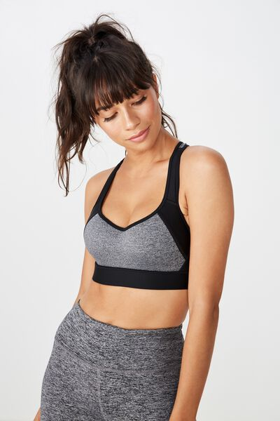 High Impact Wire Free Sports Bra, BLACK/SALT & PEPPER