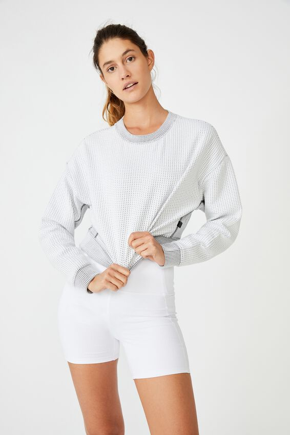 Jacquard Fleece Top, WHITE
