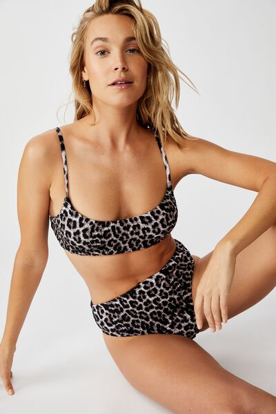 Highwaisted Banded Cheeky Bikini Bottom, ANIMAL SHIRRED