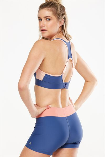 High Impact Sports Bra, ALPINE BLUE/PETAL PINK