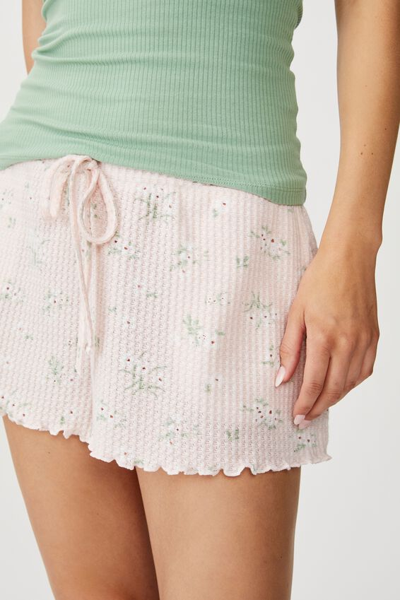 Waffle Bedtime Short, MEADOW FLORAL CRYSTAL PINK