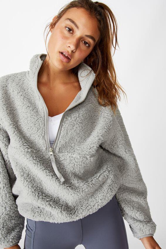 Sherpa Zip Fleece Top, GREY