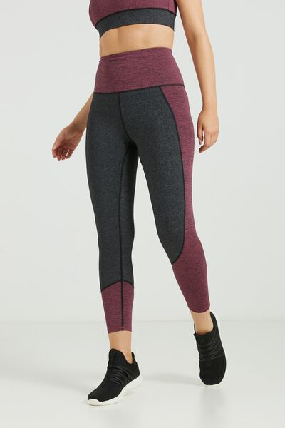 Flow Panelled 7/8 Tight, CHARCOAL MARLE/WILD ROSE