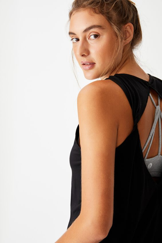 Two In One Twist Tank, BLACK/MID GREY MARLE