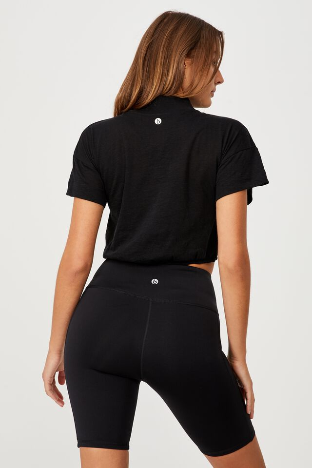 Lifestyle Mock Neck T-Shirt, BLACK