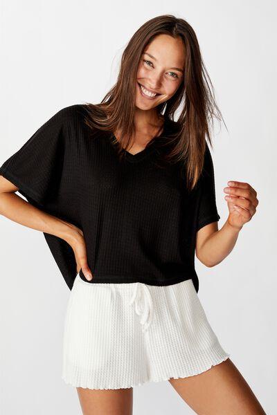 Soft Waffle T-Shirt, BLACK