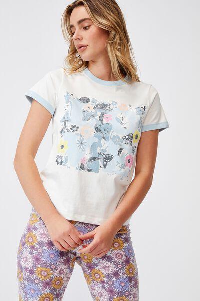 Ringer Sleep T-Shirt, FIELDS OF LOVE WHITE