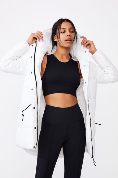 The Mother Mid Length Puffer Jacket, WHITE