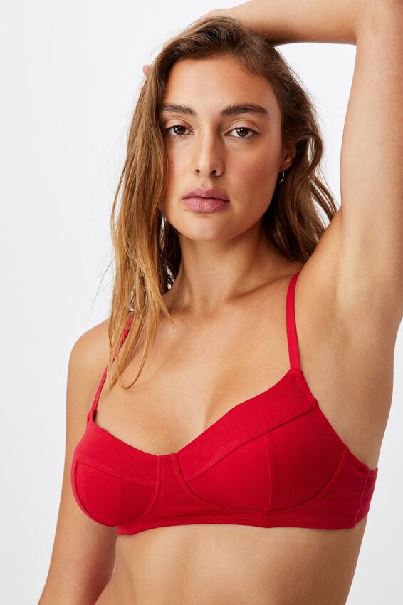 Organic Cotton Bralette With Cups, TRUE RED