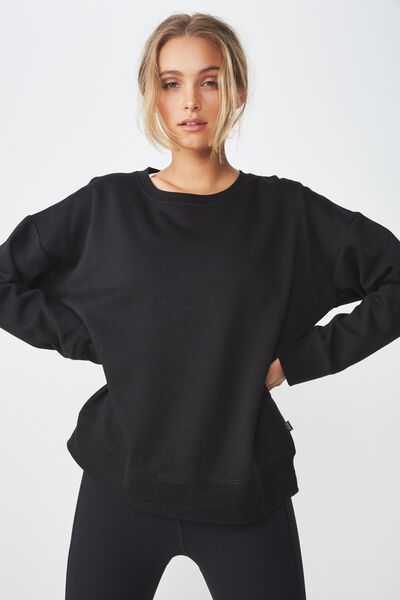 Long Sleeve Fleece Crew Top, BLACK