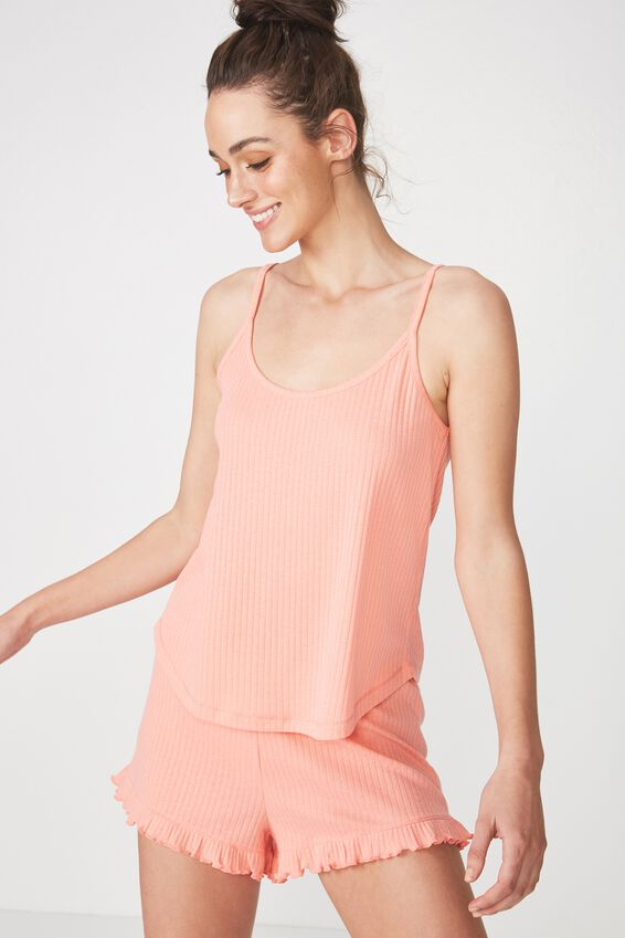 Rib Sleep Tank Top, CORAL SORBET