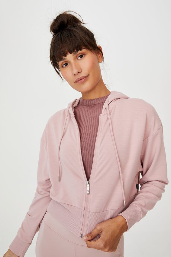 The Ultra Soft Zip Through Hoodie, ALMOND PINK