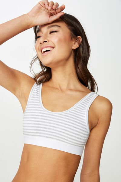 Classic Cotton Crop Bralette, GREY MARLE STRIPE
